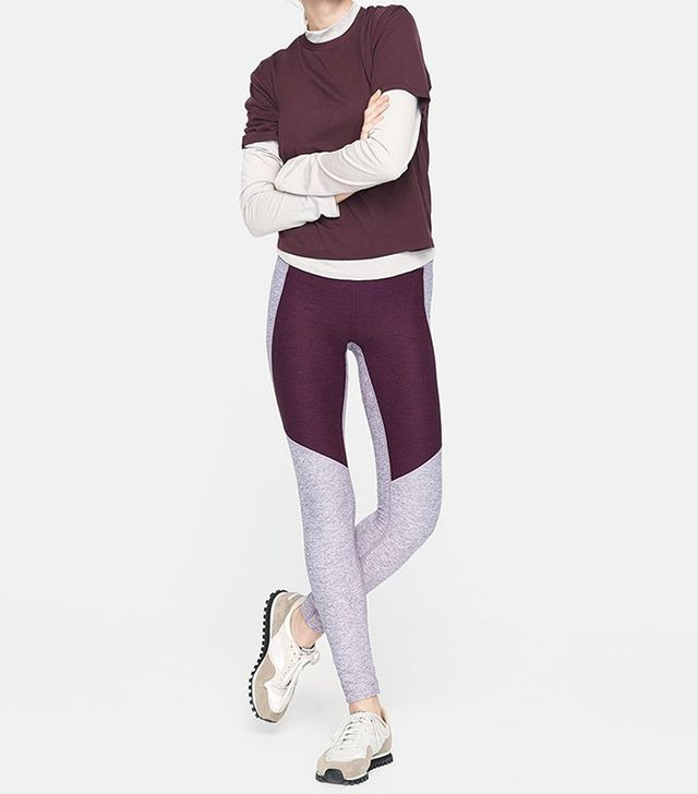 Outdoor Voices Two-Tone Warmup Leggings in Orchid/Plum