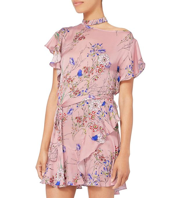 Delilah Choker Neck Ruffle Dress
