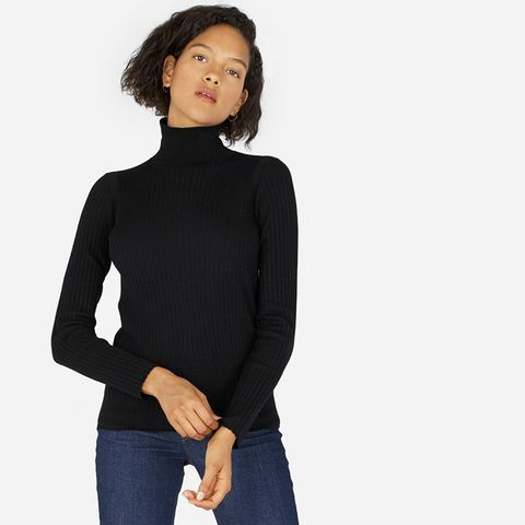 Luxe Wool Ribbed Turtleneck Sweater