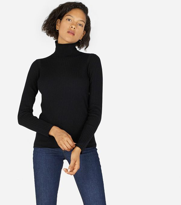 Women's Luxe Wool Ribbed Turtleneck Sweater by Everlane in True Black, Size XS
