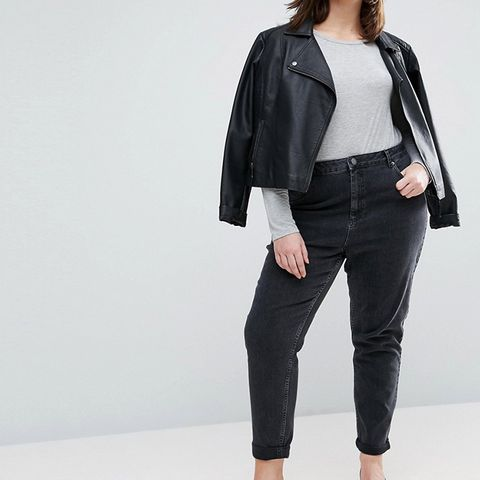 Farleigh High Waist Slim Mom Jeans in Washed Black