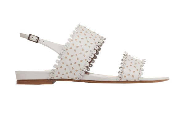 Tabitha Simmons Loopsey White Flat Sandals