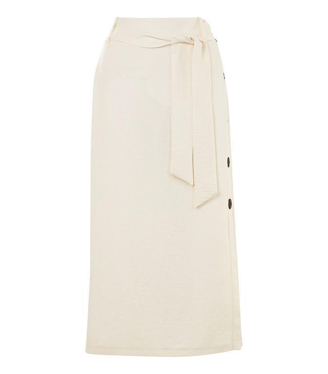 Button Side Tie Midi Skirt