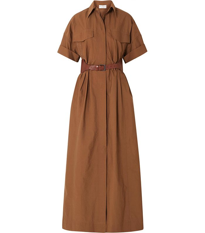 Brunello Cucinelli Belted Crinkled Cotton-Blend Maxi Dress