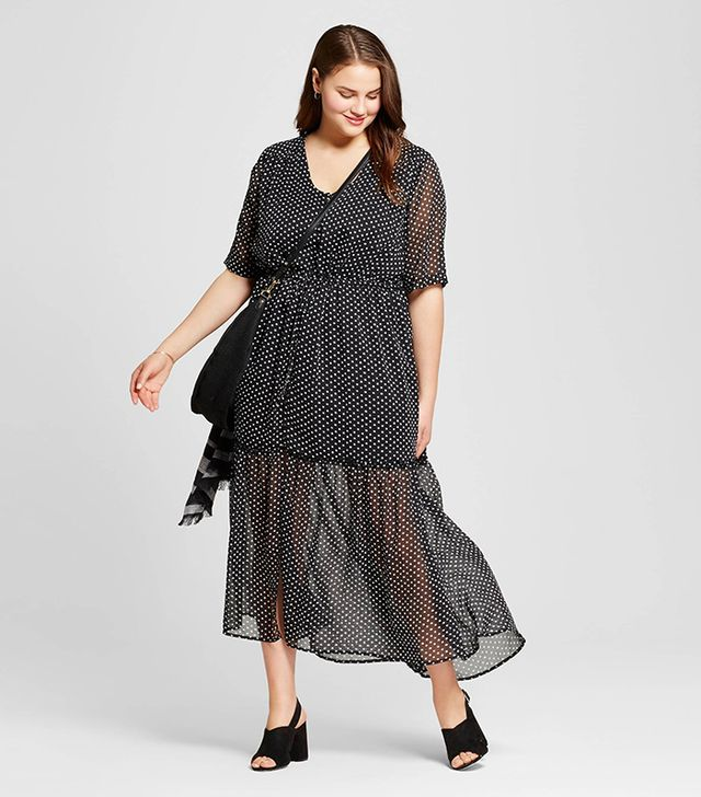 Who What Wear Plus Size Tiered Maxi Print Dress