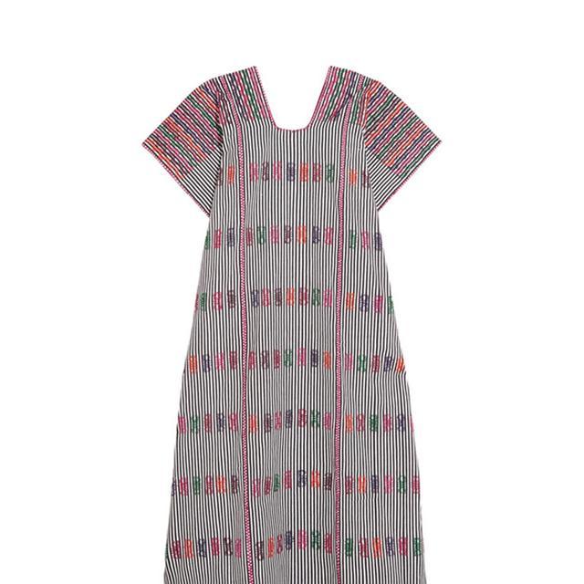 Embroidered Striped Cotton Kaftan