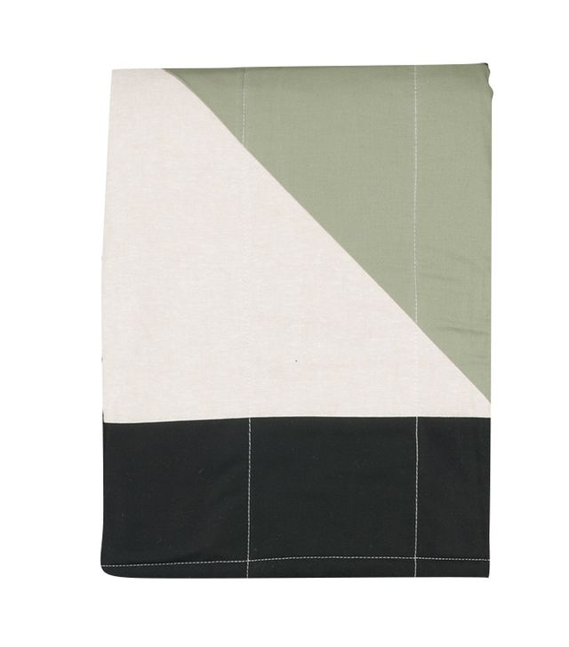 Louise Gray Throw Quilt in Tan, Sage, Rose, and Pewter