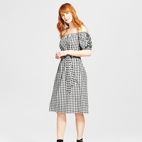 Embroidered Belted Bardot Dress
