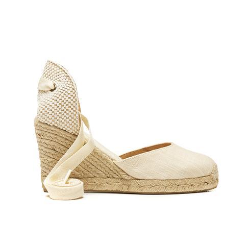 Linen Espadrille Tall Wedge Sandal