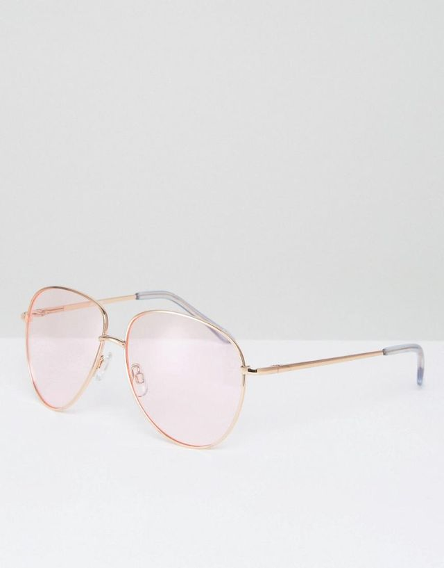 Metal Aviator Sunglasses in Rose Gold with Pink Colored Lens
