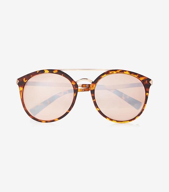 Tortoiseshell Rounded Brow Bar Sunglasses
