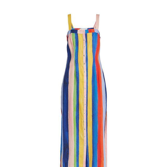 Rainbow Watercolour Stripe-print midi linen dress