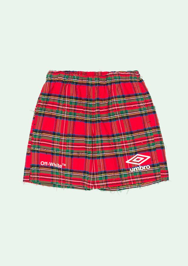 Off-White Umbro Shorts in Red Check