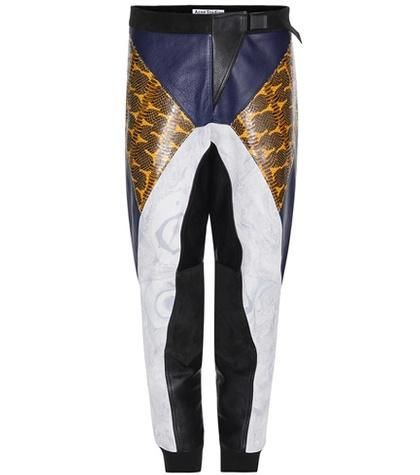 Meade embossed leather trousers