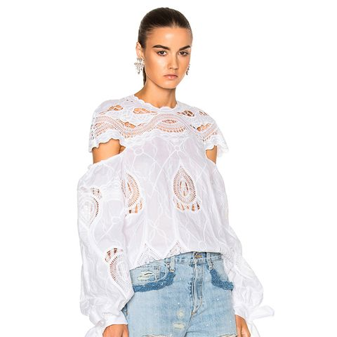 Crochet Embroidered Blouson Sleeve Blouse Top