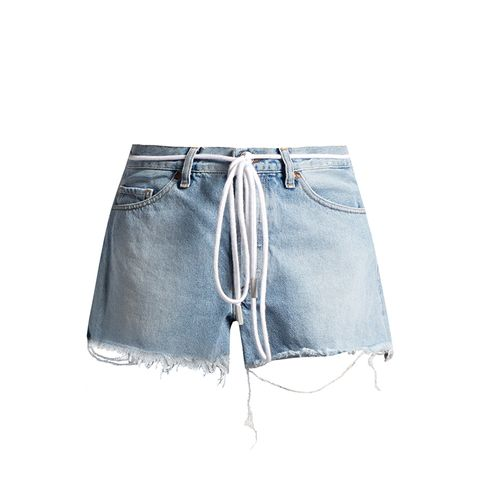 Raw-Edge Denim Shorts