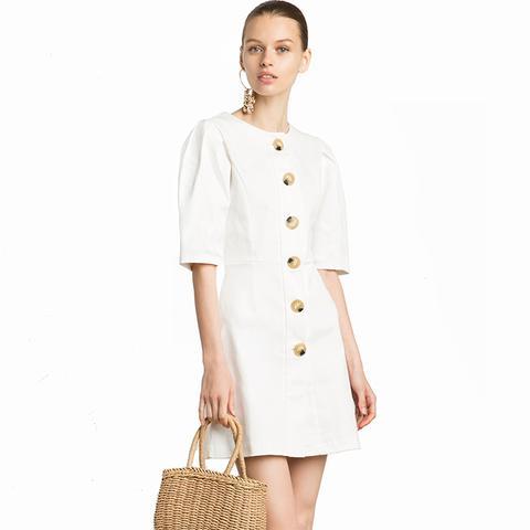 Noah Ecru Big Button Dress