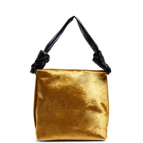 Wander Small Velvet and Python Shoulder Bag