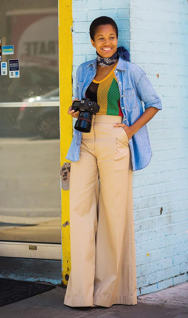 Day 27: Elongate your legs with high-waisted trousers and a tucked-in shirt.