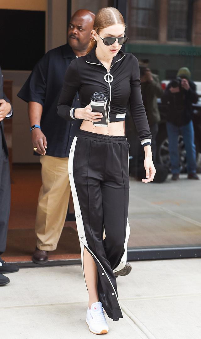Gigi Hadid in black tracksuit