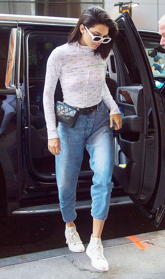 Kendall Jenner in mom jeans and Chanel fanny pack