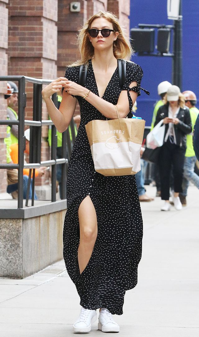 Karlie Kloss in Express black maxi dress
