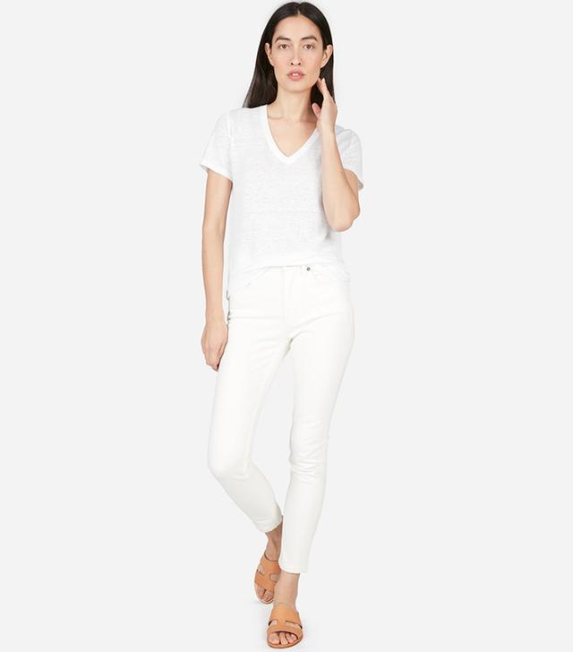 Women's Linen V-Neck Tee by Everlane in White, Size S