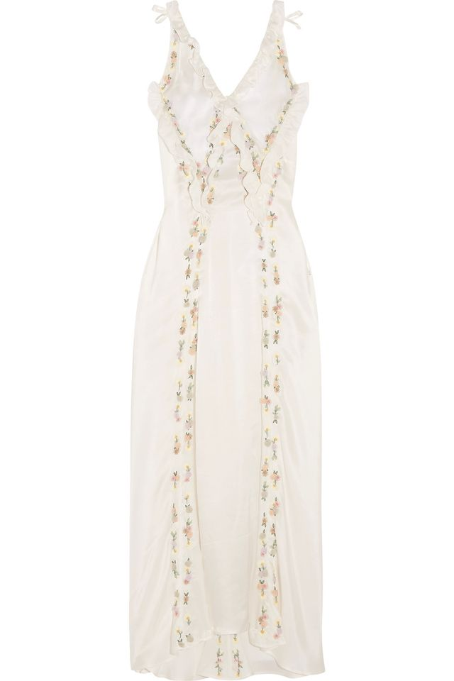 Marisa Embellished Embroidered Silk-satin Maxi Dress