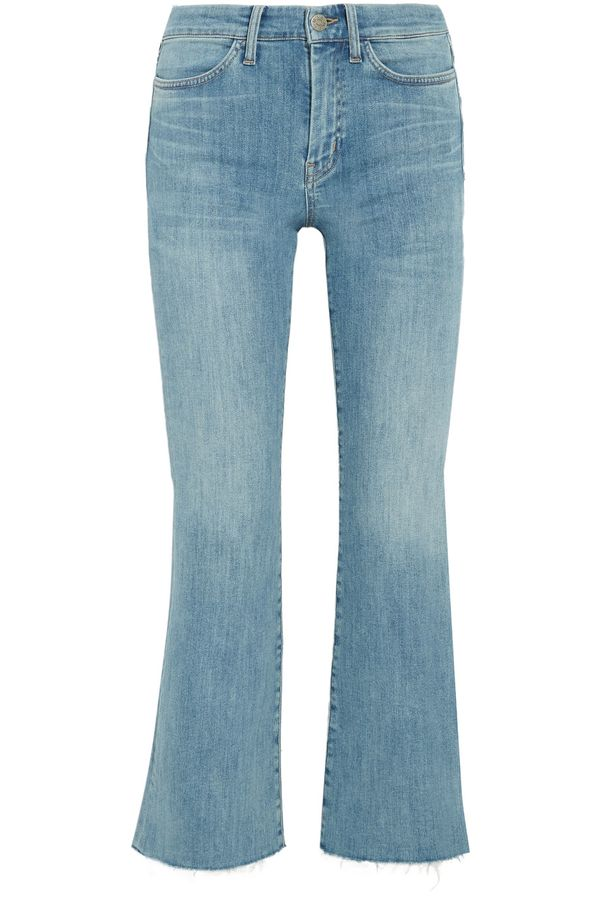 Lou Cropped Embroidered High-rise Flared Jeans