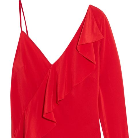 One-Shoulder Ruffled Silk Crepe de Chine Blouse