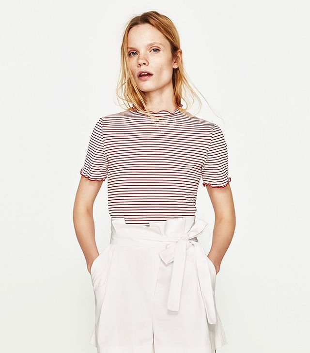 Zara Ribbed Crop Top in Red/White