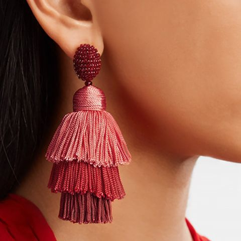 Tiered Beaded Tassel Clip Earrings