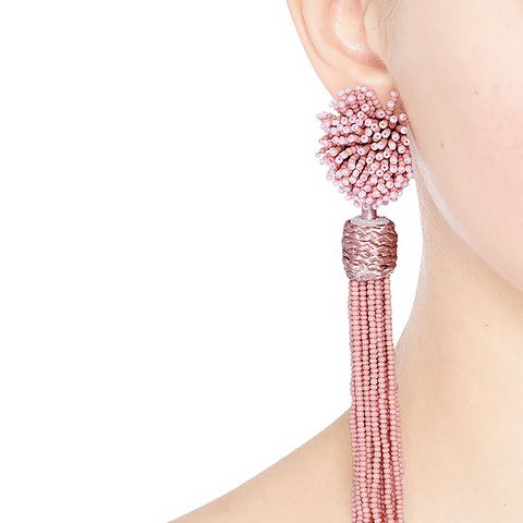 Lana Beaded Pompom Tassel Earrings