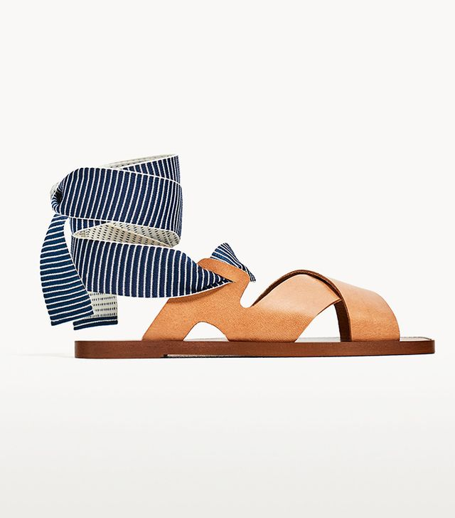 Zara Leather Slides With Interchangeable Ribbons