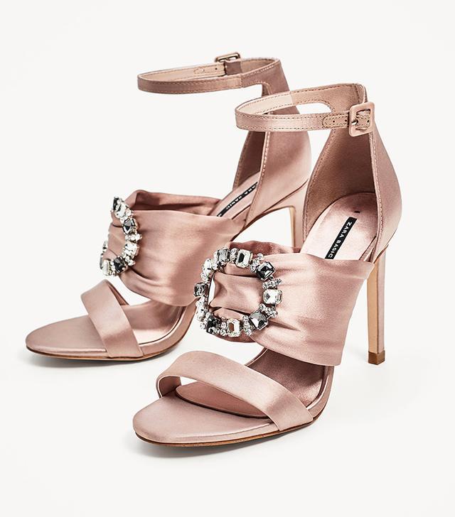 Zara Satin High Heel Sandals