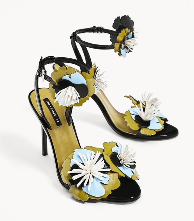 Zara High Heel Sandals With Floral Details