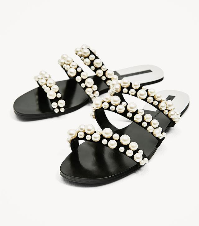 Zara Pearly Strappy Sandals