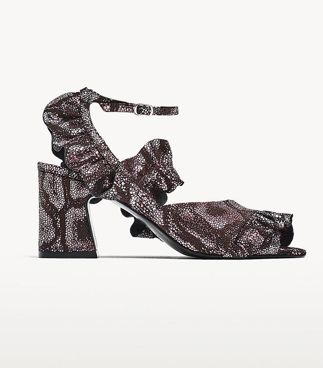 Zara High Heel Leather Sandals With Ruffles