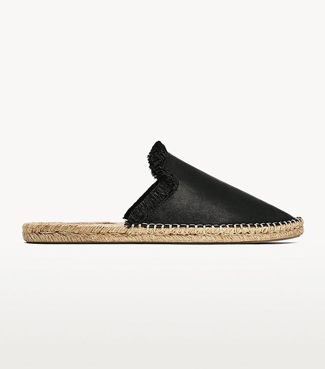 Zara Leather Slide-On Espadrilles