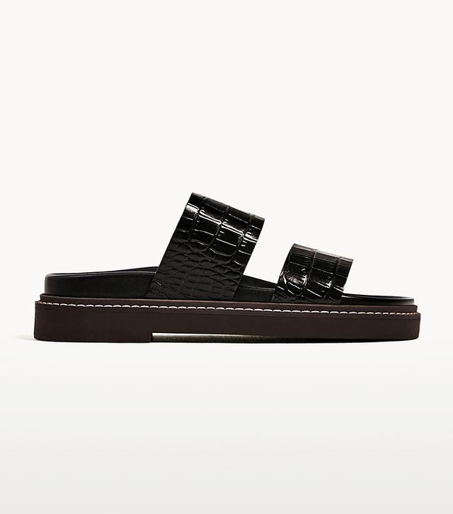 Zara Embossed Flat Leather Sandals