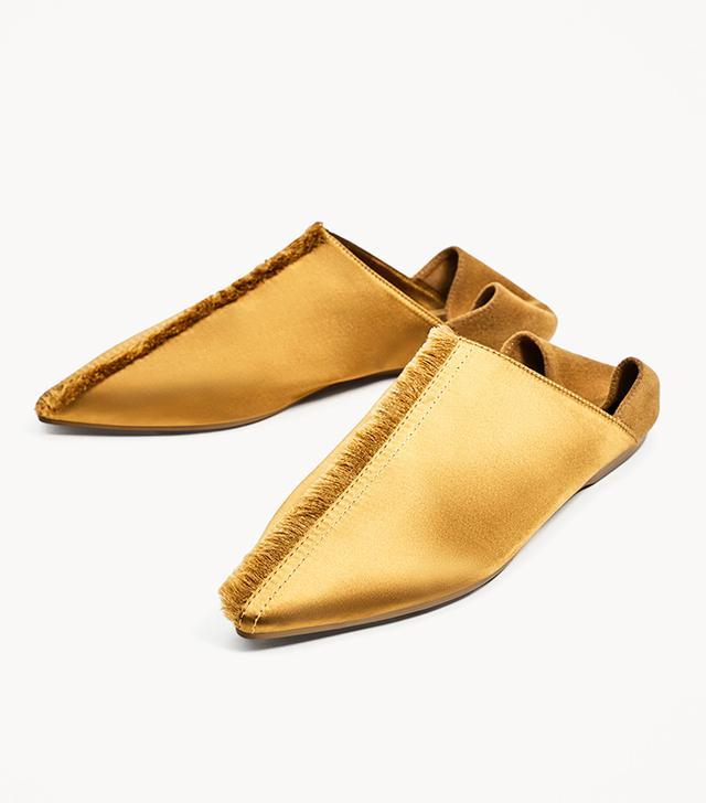 Zara Frayed Flat Satin Slippers