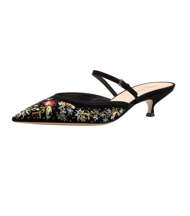 Floral-Embroidered 40mm Mule Pump