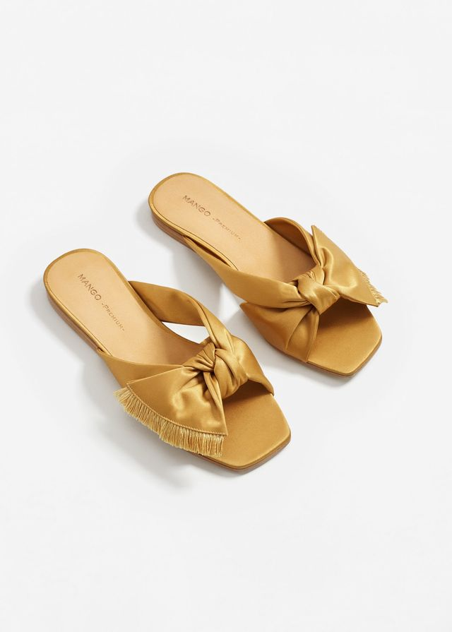 Bow satin sandals