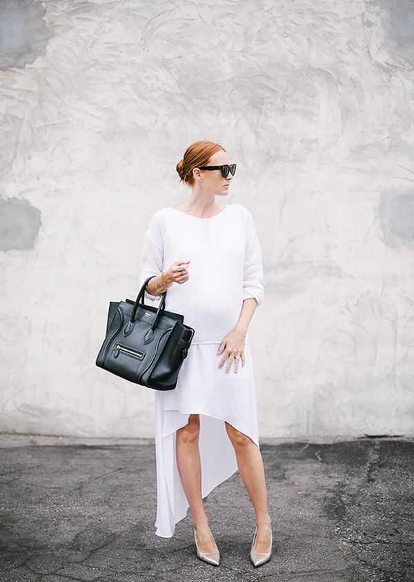 White Sweater + White Dress + Silver Pumps
