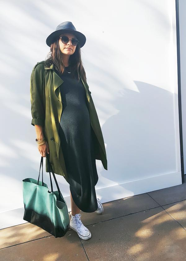 Trench Coat + Midi Dress + Sneakers
