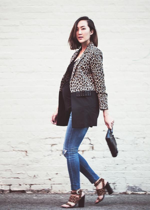 Blazer + Camisole + Skinny Jeans + Printed Heels