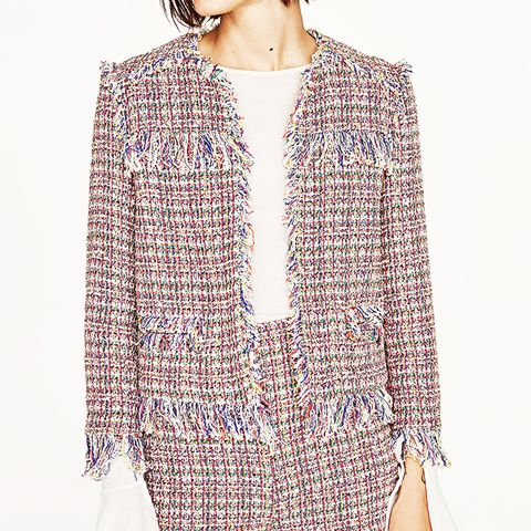 Textured Weave Cardigan With Frayed Detail