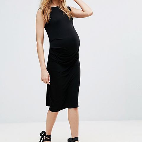 Maternity Ruched Side Midi Dress