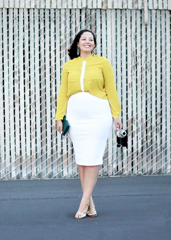 Bright Blouse + Pencil Skirt + Heeled Sandals