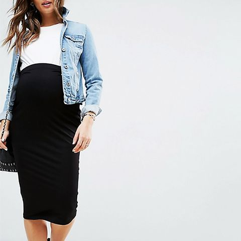 Over the Bump Midi Pencil Skirt in Jersey